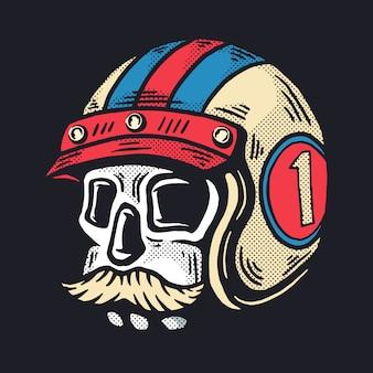 Иллюстрация черепа с усами в шлеме