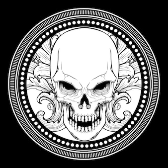 Skull with ornament hand drawing