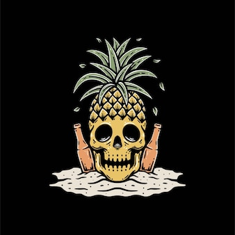 Skull with pineapple and beer on beach premium vector template Premium Vector