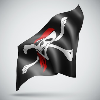 Skull with pirate bones vector 3d flag isolated on white background