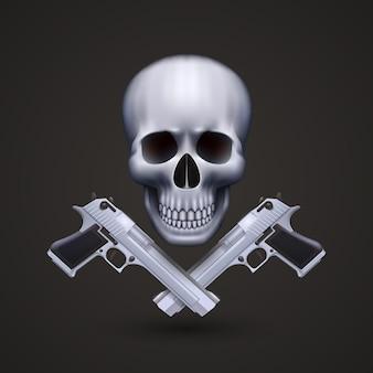 Skull with pistols art banner. vector illustration