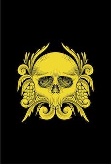 Skull with plant & leaf gold vector illustration