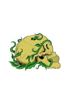 Skull with plant vector illustration Premium Vector