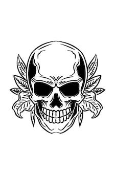Skull with plant vector illustration