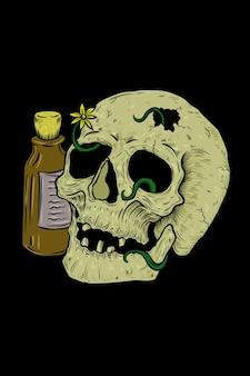 Skull with poison bottle vector illustration