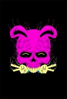 Skull with rabbit vector illustration