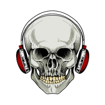 Skull with red headphones