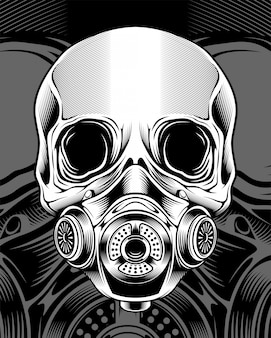 Skull with respirator vector