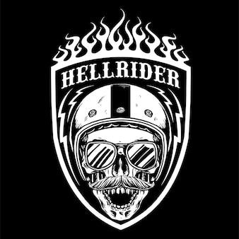 Skull with retro motorcycle helmet badge