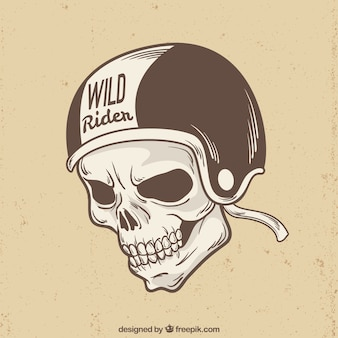 Skull with rider helmet background