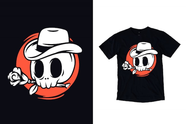 Skull with rose and cowboy hat illustration for t shirt