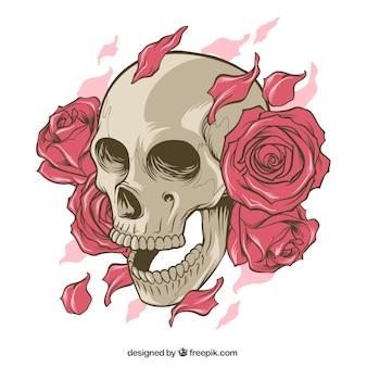 장미와 손으로 그린 꽃잎 두개골
