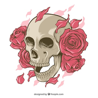 Skull with roses and hand drawn petals