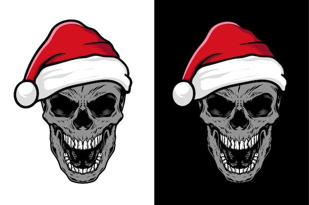 サンタ帽子イラストセットの頭蓋骨
