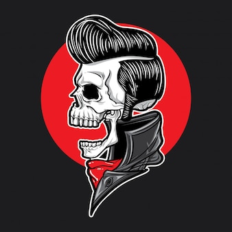 Skull with slick hair side view
