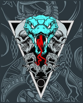 Skull with snake hand drawing vector