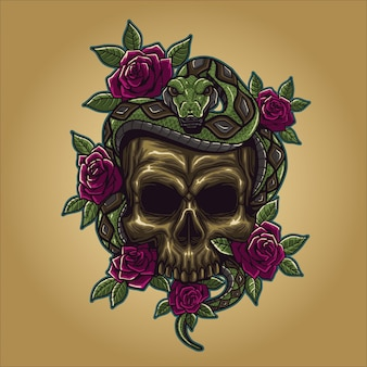 Skull with snake and rose