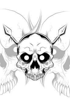 Skull with spear vector illustration