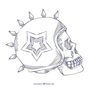 Skull with star-shaped helmet