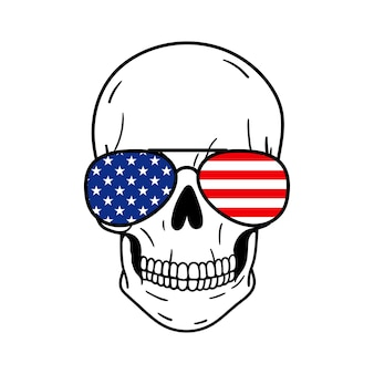 Skull with sunglasses american flag print vector illustration isolated on white background