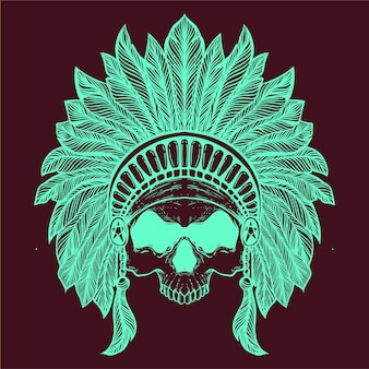 Skull with tribe hat