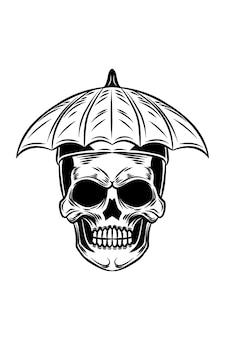 Skull with umbrella vector illustration