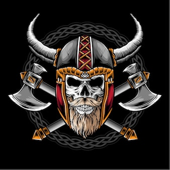 Skull with viking helmet logo