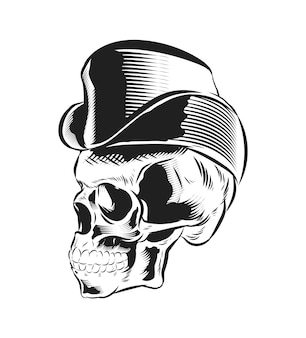 Skull with vintage hats isolated
