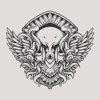 翼の彫刻飾りと頭蓋骨