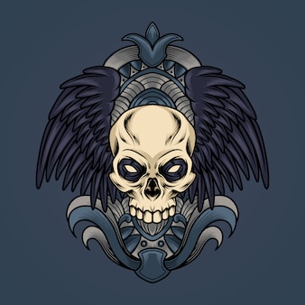 Skull with wings illustration