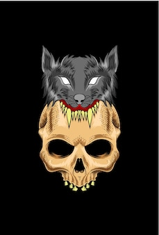 Skull with wolf vector illustration