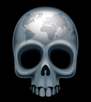 Skull with a world map on her forehead eps8 cmyk organized by layers global colors gradients used