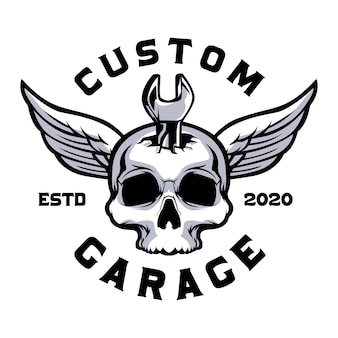 Skull with wrench custom garage