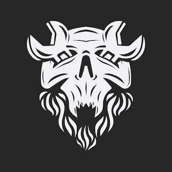 Skull with wrench on eyes skeleton repairman vintage logo vector illustration