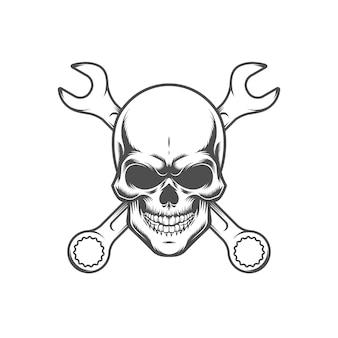 レンチで頭蓋骨。レトロなロゴ、エンブレム、ラベル。白い背景で隔離されました。