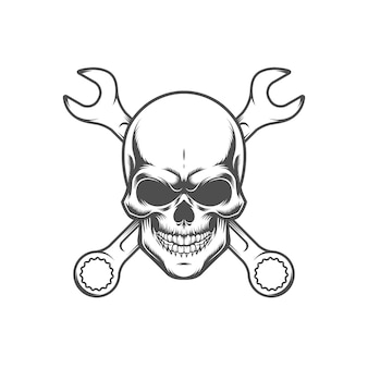 Skull with wrenches. retro logo, emblem, label. isolated on white background.