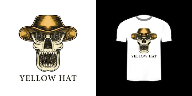 Tshirt 디자인을위한 노란 모자와 두개골