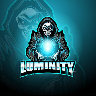 Skull wizard gaming mascot logo