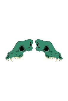 해골 늑대 벡터 녹색 어두운 그림