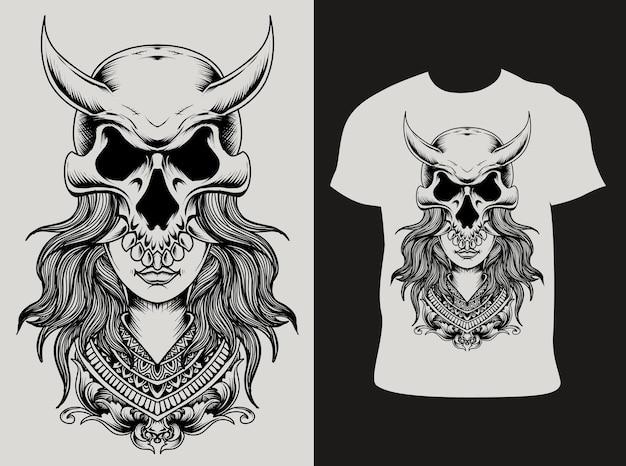 Tシャツのデザインと頭蓋骨の女性 Premiumベクター