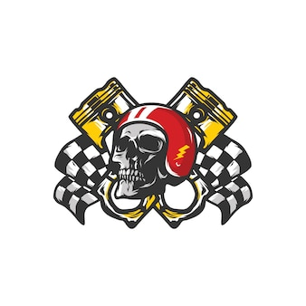 Skull workshop logo mascot vector design illustration