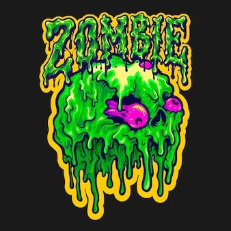 Skull zombie melt cartoon vector 일러스트레이션은 작업 로고, 마스코트 상품 티셔츠, 스티커 및 라벨 디자인, 포스터, 비즈니스 회사 또는 브랜드를 광고하는 인사말 카드입니다.