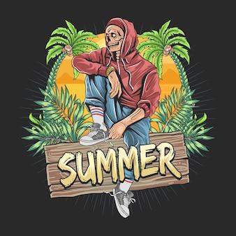 Череп зомби лето с изображением тропических листьев и кокосовой пальмы