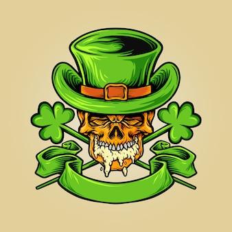 Skulll mascot for st patricks beer day illustrations