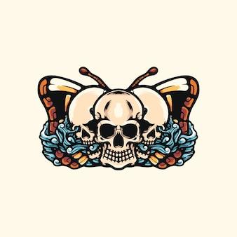 Черепа и бабочка