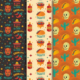 Skulls and burrito seamless pattern