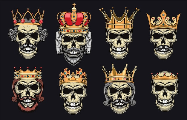 Skulls in crowns flat illustration set