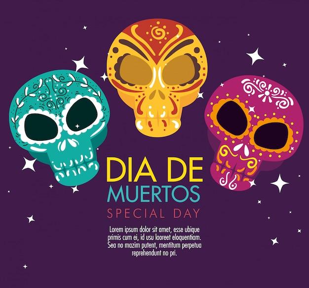 死者のお祝いの日の頭蓋骨の装飾