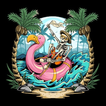 Skulls on flamingos floats on the beach during summer parties filled with coconut trees
