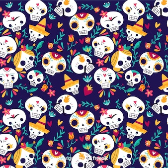 Skulls of girls and boys seamless pattern